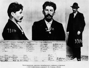 ca. 1913 --- The information card on Joseph Stalin, from the files of the Tsarist secret police in St. Petersburg. --- Image by © Hulton-Deutsch Collection/CORBIS